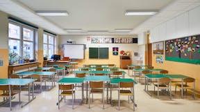 PL, Warsaw, Primary School number 340, wmn ARCHITEKCI Weronika Nowak, Education, Classroom, Rockfon® Koral™ 100 mm, A-edge, 600x600, white, Rockfon® System T24 A/E