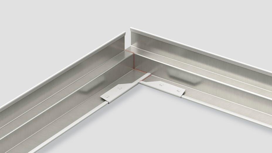 product illustration, corner caps, Rockfon, grid, suspension grid, component