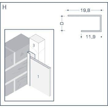 Profil H - Anschlussprofil mit Schnittkantenüberdeckung