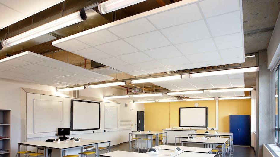 Walworth Academy London London, United Kingdom Polar Black Rockfon Alaska Central Essex Interiors  Education Balfour Beatty