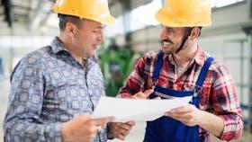 Illustrative image, industry, worker, engineer, construction, building site, hard hat, blueprint, plan, document, collaboration