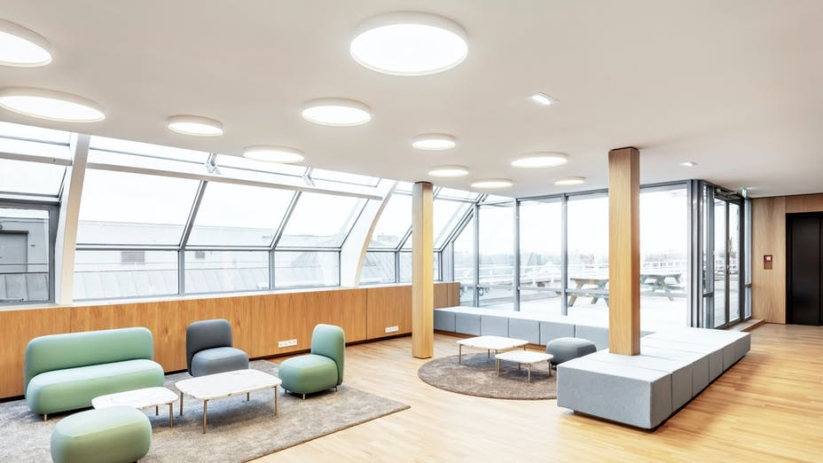Office in headquarters of Electricity company in Strasbourg France with Rockfon Mono Acoustic