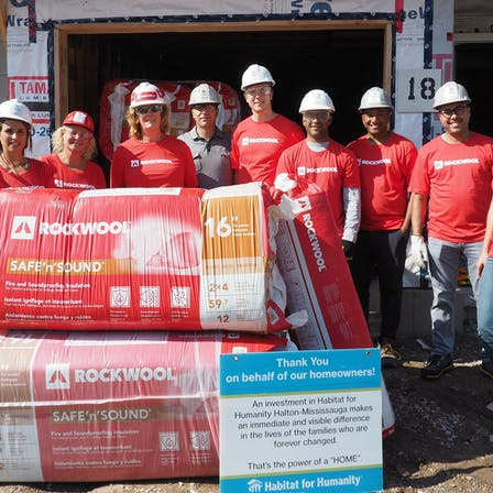 ROCKWOOL team participates in Habitat for Humanity build project in Burlington, Ontario. Not intended for commercial use only community and internal communications.