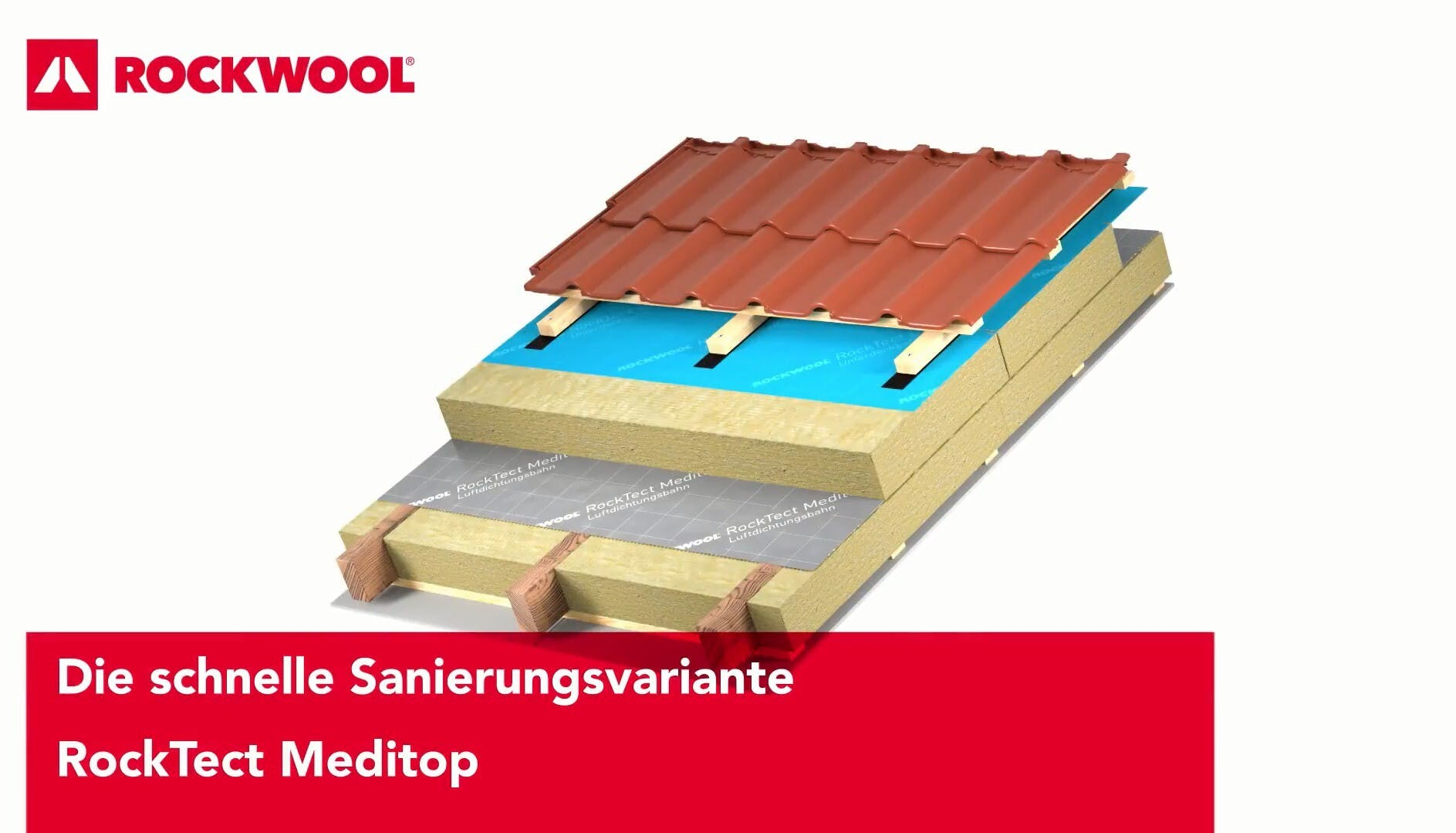 thumb, thumbnail, video, roof, pitched roof, insulation above the rafters, meisterdach, variante meditop, rocktect meditop, germany