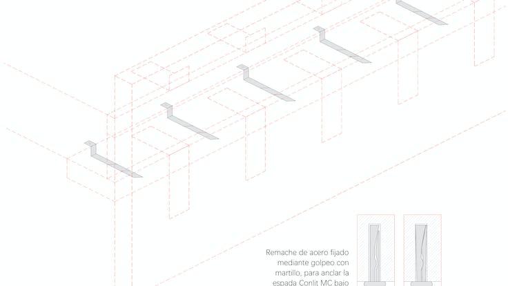 Installation process Curtain Wall - System MC 60-90 Firestop strips, curtain wall, fire protection, facade, installation, FP.  Proceso de instalación Sistema Conlit MC 60-90: Instalación paso a paso, Franja cortafuego, muro cortina, fachada panel. Conlit Alu  Step 6. Paso 6