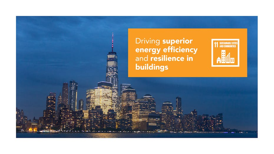 PNG: Driving superior energy efficiency and resilience in buildings SDG11 sustainable development goals blog post hero image. (Version 1)