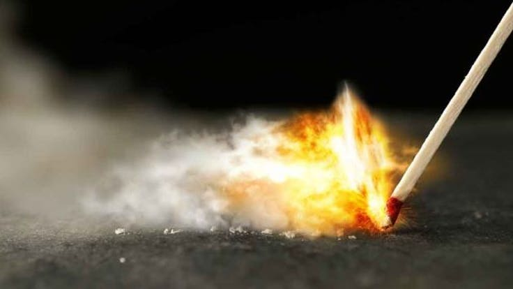 RockWorld imagery, match, fire,