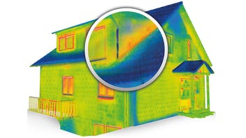 single family house, thermogram, engergy loss, airthightness, magnifying lense, germany