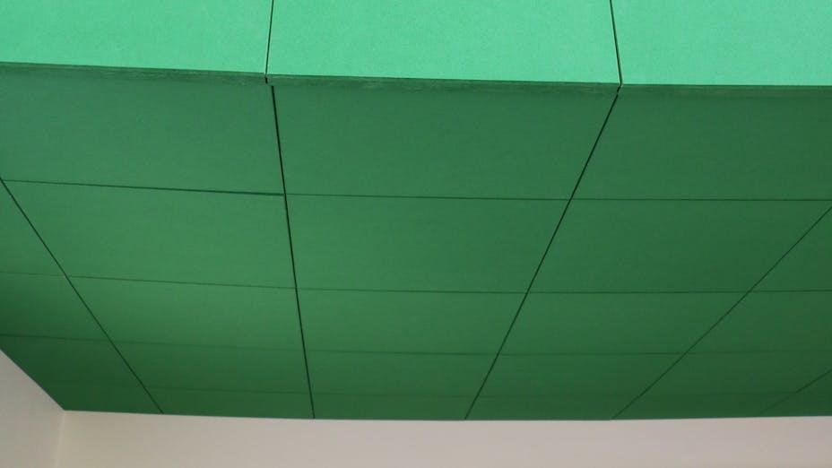 DK, Skovshoved skole, Charlottenlund, tegne-stuen, Education, Rockfon Color-all, B-edge, 600x600, Green, Glue, Glued, Corridor, close-up, detail