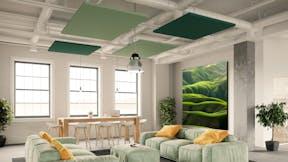 Lounge room with Rockfon Eclipse Colour islands