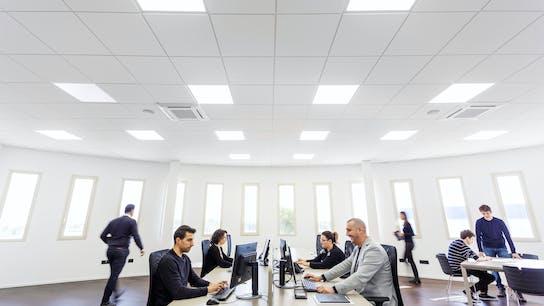 IT, Tr-Inox, Nociglia, Rocco de Lentinis, Office, Rockfon Blanka, E-edge, 600x600, 1200x600, White