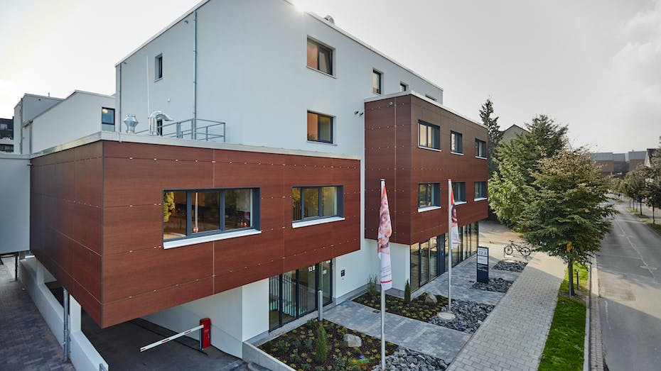 Retirement home in Hameln, Germany cladded with Rockpanel Woods Merbau facade cladding