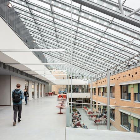 FI, Metropolian Myyrmäen kampus , Vantaa, Kirsti Sivén & Asko Takala Arkkitehdit Oy, Education, Rockfon Color-all, 600x600, Charcoal, Kitchen, Canteen