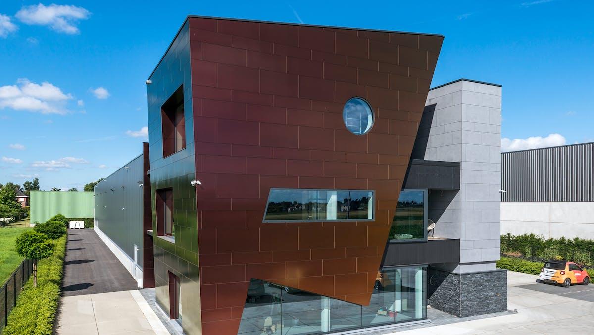 Sherwin office in Kortenberg, Belgium cladded with Rockpanel Chameleon facade cladding.
