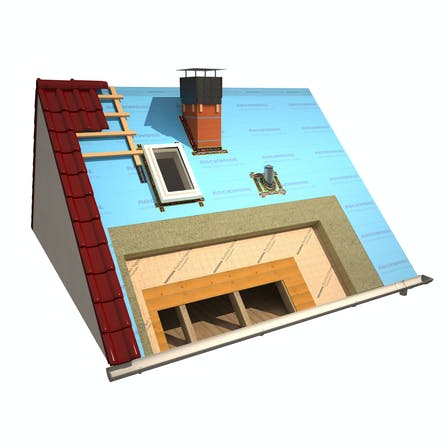 products, pitched roof, insulation above the rafters, insulation on the rafters, meisterdach, masterrock, rocktect, vapotop, rocktect vapotop, vapotop variante, rendering, graphic, germany
