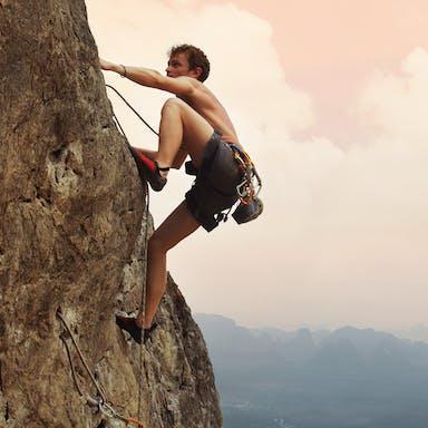 Mountain climbing, Man, Outdoor