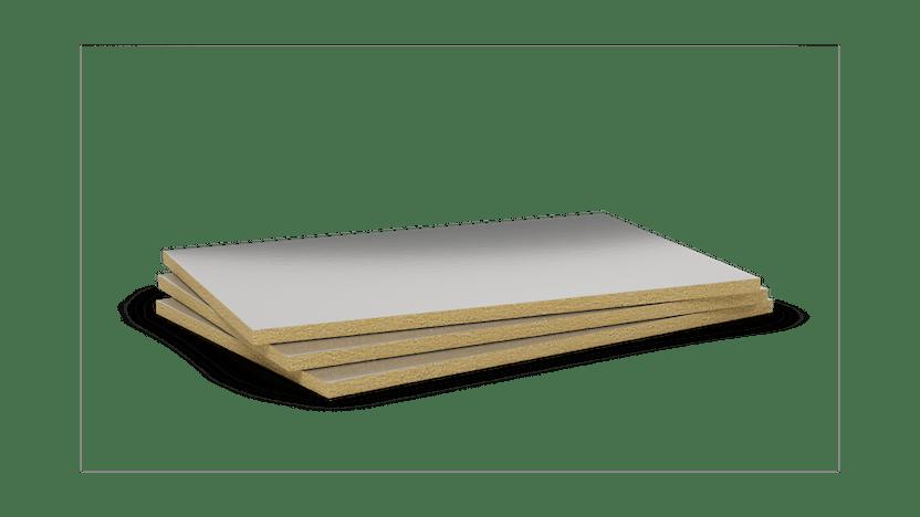 Mono density, mid-high density stone wool slab with aluminium. Products: Rockmur-E-ALU 201.216, Firerock 910.219, Conlit 150 AF, Conlit 150 U, Conlit Plus ALU