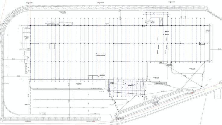 reference, egger glas, production hall, plan, scheme, flat roof, gersdorf, austria