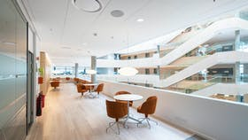 Super white and bright acoustic ceiling with Rockfon Blanka durable ceiling tiles